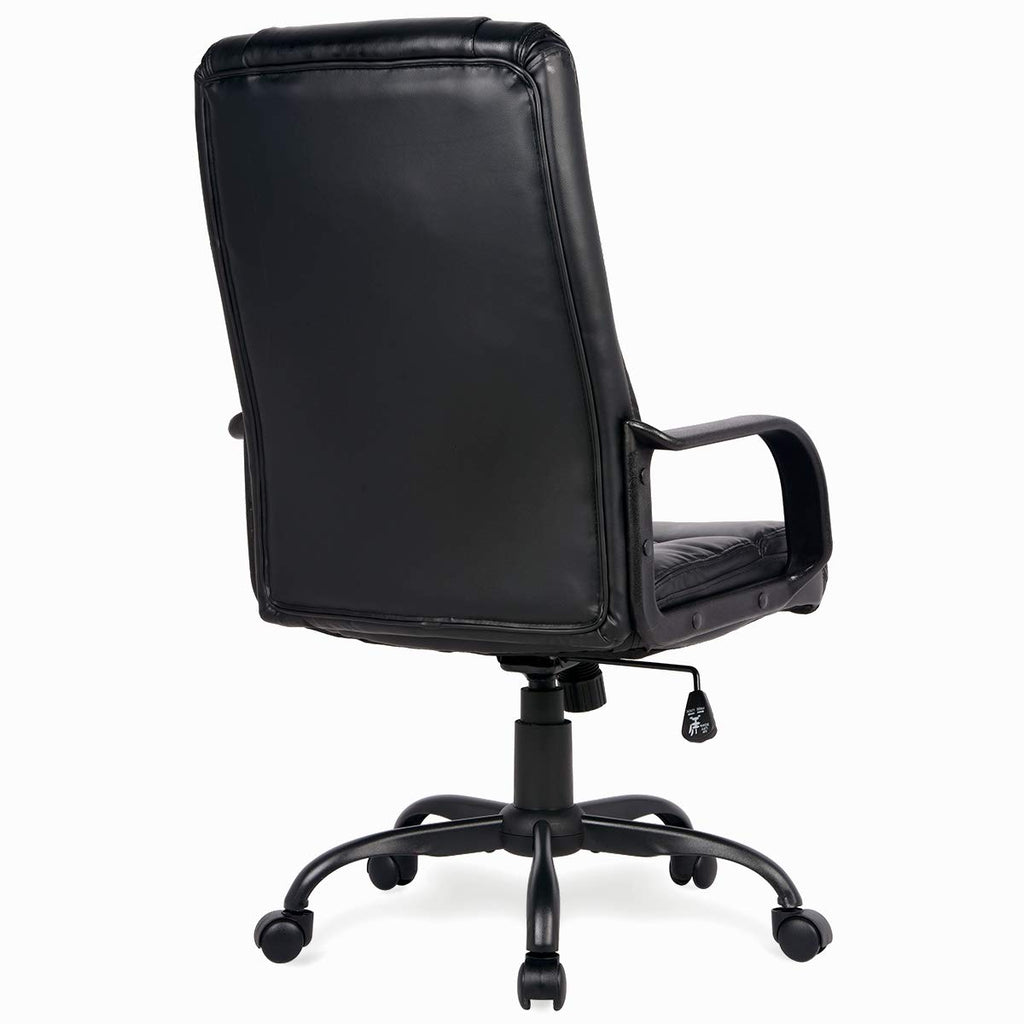 Adjustable High Back Executive PU Leather Office Chair Computer Desk Chair Ergonomic Style Swivel Chair with Thick Back and Seat Cushion Black