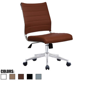 2xhome Brown Modern Ergonomic Executive Mid Back PU Leather No Arms Rest Tilt Adjustable Height Wheels Cushion Lumbar Support Swivel Office Chair Conference Room Home Task Desk Armless