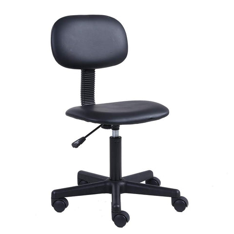 KKTONER PU Leather Low Back Task Chair Without Arms Computer Office Chair Stool Black
