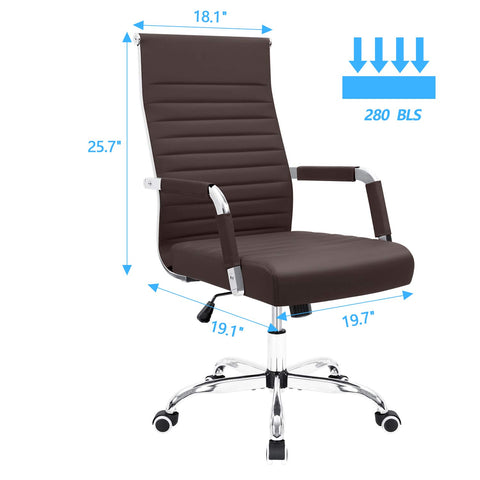 Furmax Ribbed Office Desk Chair Mid-Back Leather Executive Conference Task Chair Adjustable Swivel Chair with Arms (Brown)