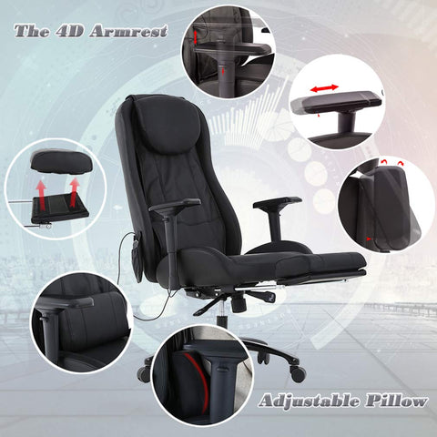 Image of High-Back Massage Chair PU Leather Office Chair Computer Desk Chair Task Executive Chair with Lumbar Support Swivel Rolling Chair for Women, Men