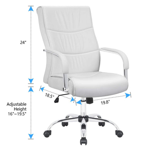 Image of Furmax High Back Office Desk Chair Conference Leather Executive with Padded Armrests,Adjustable Ergonomic Swivel Task Chair with Lumbar Support(White)