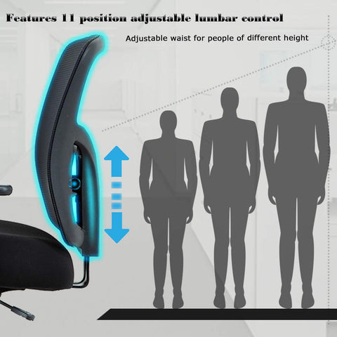 BestMassage Big and Tall 400lb Office Chair Desk Ergonomic Executive Rolling Swive Adjustable Arms Mesh Back Computer Task Stool with Lumbar Support for Women Men, Black
