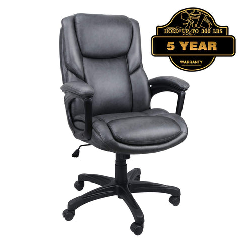 Image of Luxurious Executive Office Chairs, High-Back Leather Computer Desk Chairs with Flexible Rocking System and Massy Handrail with Padded