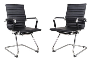 Classic Replica Visitors Chair in Black PU Leather. Chrome arms with Protective arm Sleeves with Zip Available. Suitable for Office and Home | Set of 2 Chairs