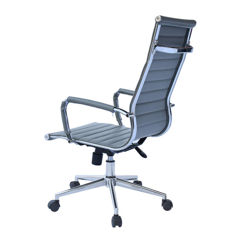 Image of 2xhome Gray Office Chair Conference Room Designer Boss PU Leather with Arms Wheels Swivel Tilt Adjustable Manager Mid Century High Back Ribbed Modern Work Task Eames Computer Desk for Tall People Home