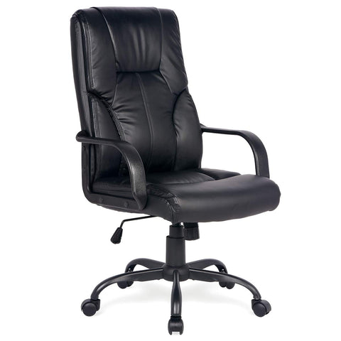 Image of Adjustable High Back Executive PU Leather Office Chair Computer Desk Chair Ergonomic Style Swivel Chair with Thick Back and Seat Cushion Black