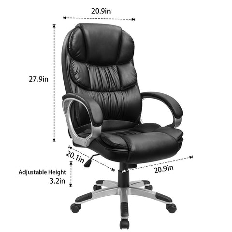 Furmax High Back Office Chair PU Leather Executive Desk Chair with Padded Armrests,Adjustable Ergonomic Swivel Task Chair with Lumbar Support(Black)
