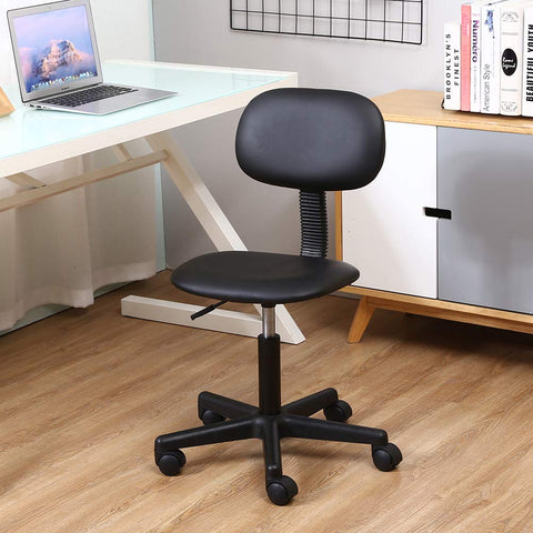 Image of KKTONER PU Leather Low Back Task Chair Without Arms Computer Office Chair Stool Black