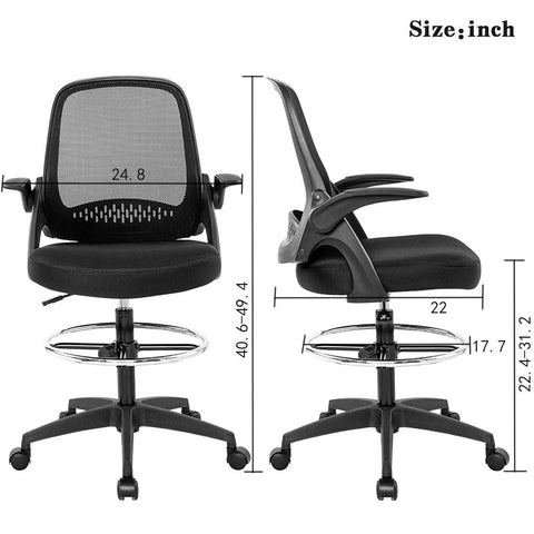 Ergonomic Mid-Back Mesh Drafting Chair with Lumbar Support Flip-Up Arms Desk Computer Adjustable Swivel Rolling Home Tall Office Chair for Women,Men