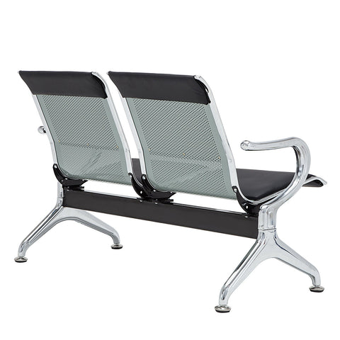 WALCUT Waiting Room Chair Leather Business Reception Bench Room Garden Salon Barber Bench for Barbershop Salon Airport Bank Hospital Market,2 Seat, Black