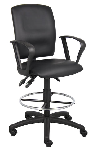 Image of Boss Office Products B1647 Multi-Function LeatherPlus Drafting Stool with Loop Arms in Black