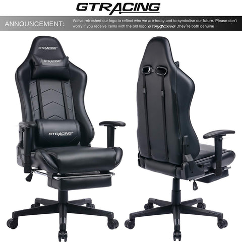 Image of GTRACING Big and Tall Gaming Chair with Footrest Heavy Duty Adjustable Recliner with Headrest Lumbar Support Pillow High Back Ergonomic Leather Racing Computer Desk Executive Office Chair GT901 Black
