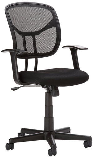 AmazonBasics Classic Mid-Back Mesh Swivel Office Desk Chair with Armrest - Black