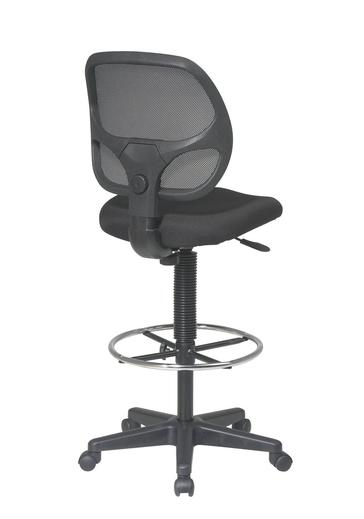"Office Star Deluxe Mesh Back Drafting Chair with 18.5"" Diameter Adjustable Footring, Black Fabric Seat"