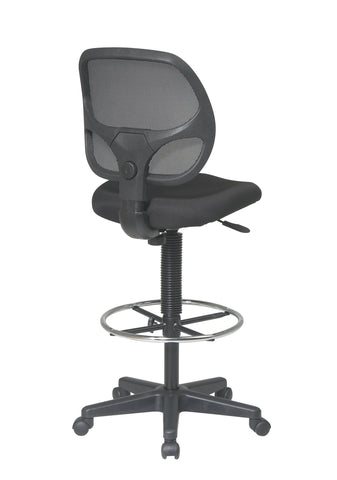 "Image of Office Star Deluxe Mesh Back Drafting Chair with 18.5"" Diameter Adjustable Footring, Black Fabric Seat"