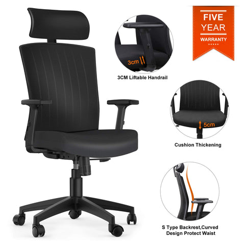 Komene ergonomic Office Chair High Back Mesh Desk Chair with Adjustable Seat Height Headrest Lumbar Support Swivel Computer Chair for Home Office Study, High Back,Black