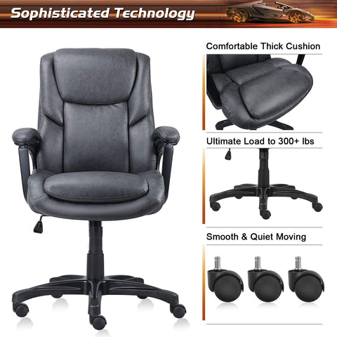Luxurious Executive Office Chairs, High-Back Leather Computer Desk Chairs with Flexible Rocking System and Massy Handrail with Padded