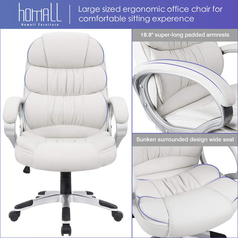 Image of Homall Office Chair High Back Computer Desk Chair, PU Leather Adjustable Chair Ergonomic Boss Executive Management Swivel Task Chair with Padded Armrests (White)