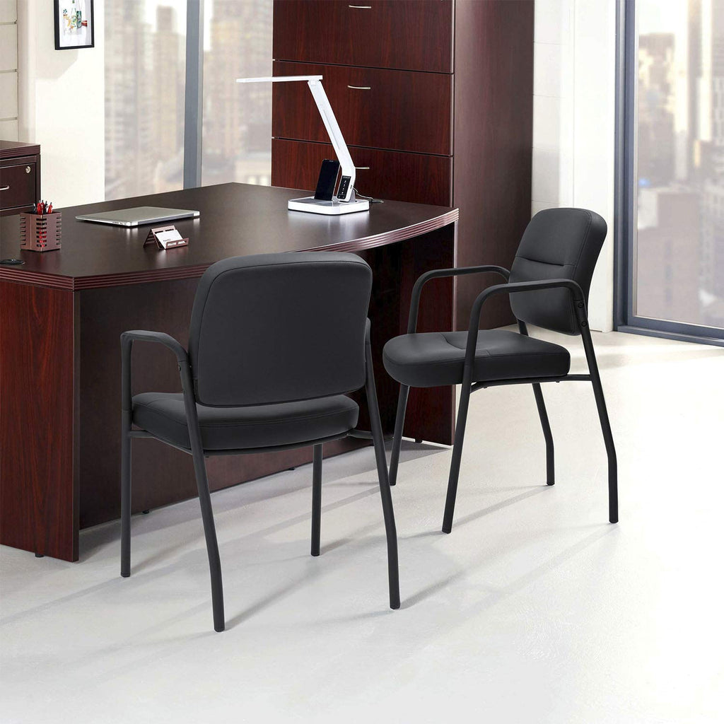 Devoko Office Reception Chairs Executive Leather Guest Chairs with Armrest Ergonomic Upholstered Lumber Support Side Chairs Set of 2 (Black)