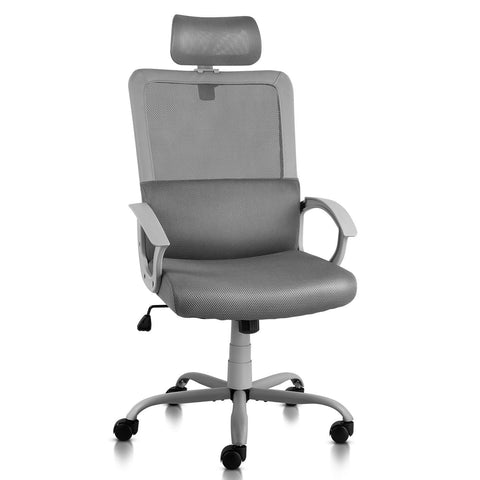 Image of Ergonomic Office Chair Adjustable Headrest Mesh Office Chair Office Desk Chair Computer Task Chair (Light Gray)