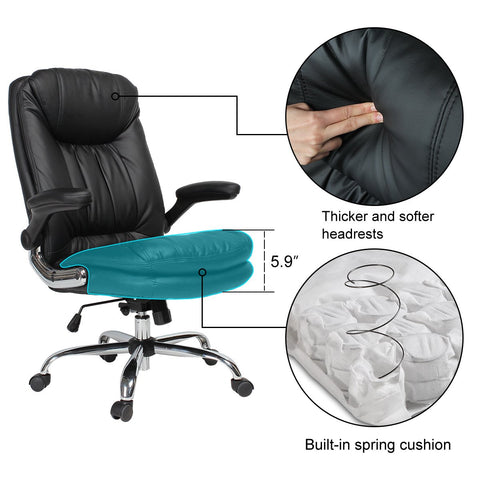 YAMASORO Ergonomic Executive Office Chair - High-Back Office Desk Chairs Leather Computer Chair Adjustable Tilt Angle and Flip-up Arms Big for Man and Women Black