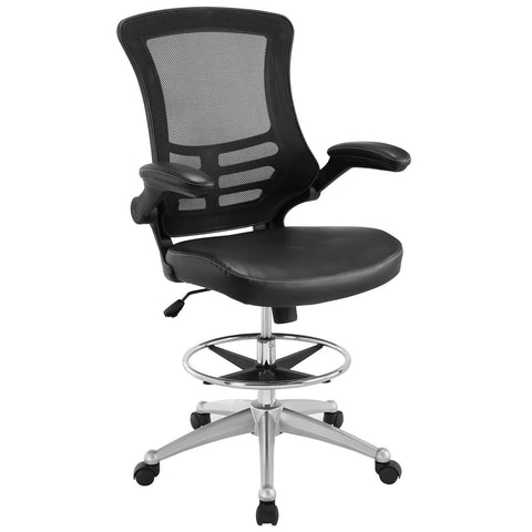 Modway Attainment Drafting Chair In Black - Tall Office Chair For Adjustable Standing Desks - Drafting Stool With Flip-Up Arm Drafting Table Chair