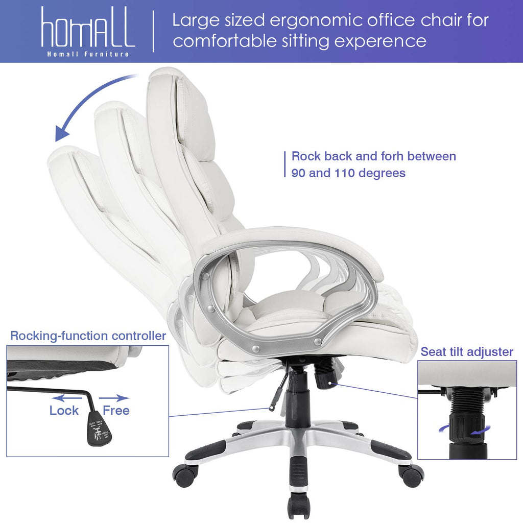 Homall Office Chair High Back Computer Desk Chair, PU Leather Adjustable Chair Ergonomic Boss Executive Management Swivel Task Chair with Padded Armrests (White)