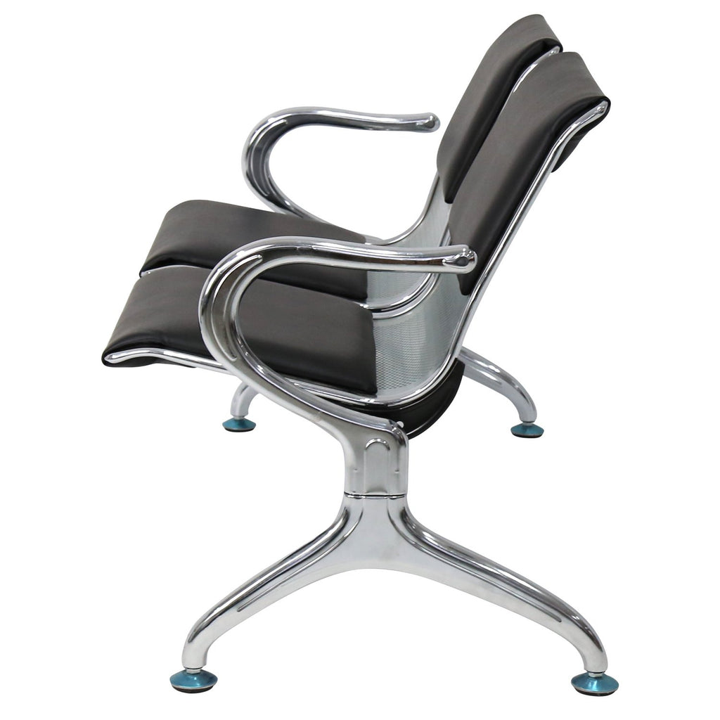 Peach Tree Office Metal Waiting Room Chair Leather Business Reception Room Garden Salon Barber Bench for Barbershop Salon Airport Bank Hospital Market (2 Seats, Black)
