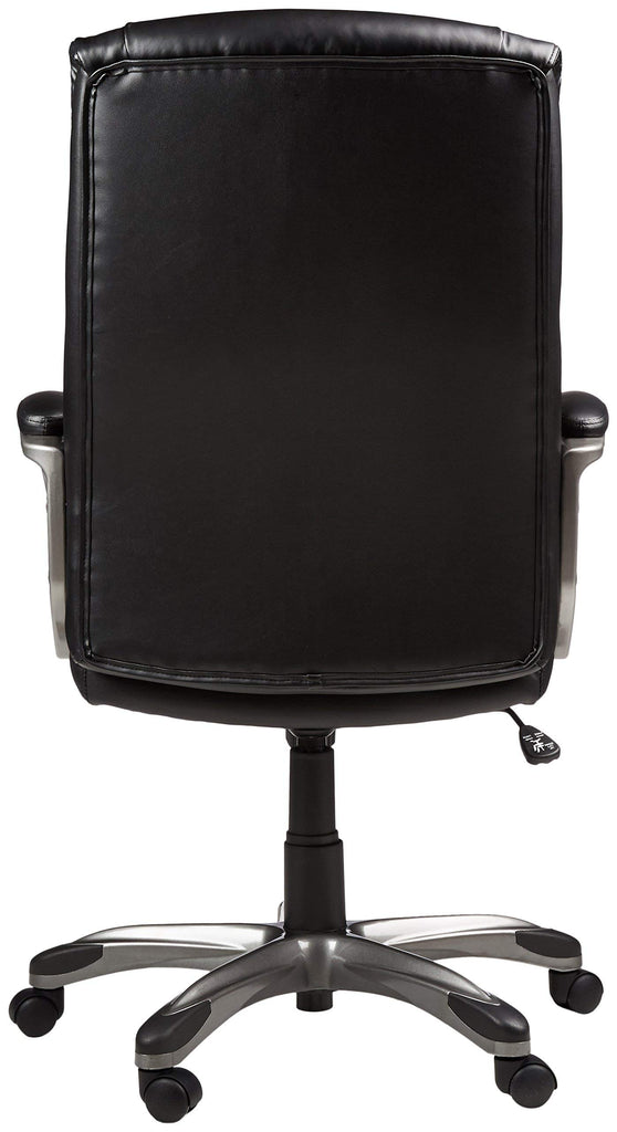 AmazonBasics High-Back Executive Swivel Office Computer Desk Chair - Black with Pewter Finish