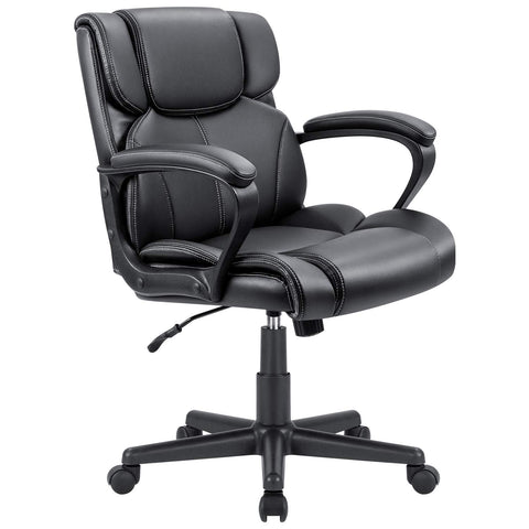 Furmax Mid Back Executive Office Chair Leather-Padded Desk Chair with Armrests,Ergonomic Swivel Task Chair with Lumbar Support (Black)