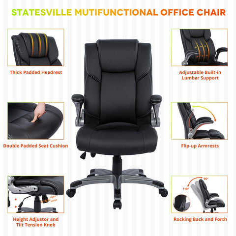 Statesville High Back Office Chair - Ergonomic Computer Desk Executive Task Swivel Chair - Adjustable Built in Lumbar Support, Tilt Angle and Flip-Up Arms, 360 Degree Rotation for Workers & Students