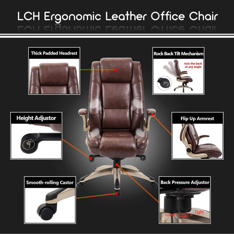 Image of KADIRYA High Back Bonded Leather Executive Office Chair - Adjustable Recline Locking Mechanism,Flip-up Arms Computer Desk Chair,Thick Padding and Ergonomic Design for Lumbar Support (Brown)