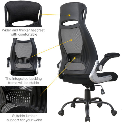 Image of BERLMAN High Back Mesh Office Chair with Adjustable Armrest Lumbar Support Headrest Swivel Task Desk Chair Ergonomic Computer Chair (Black)