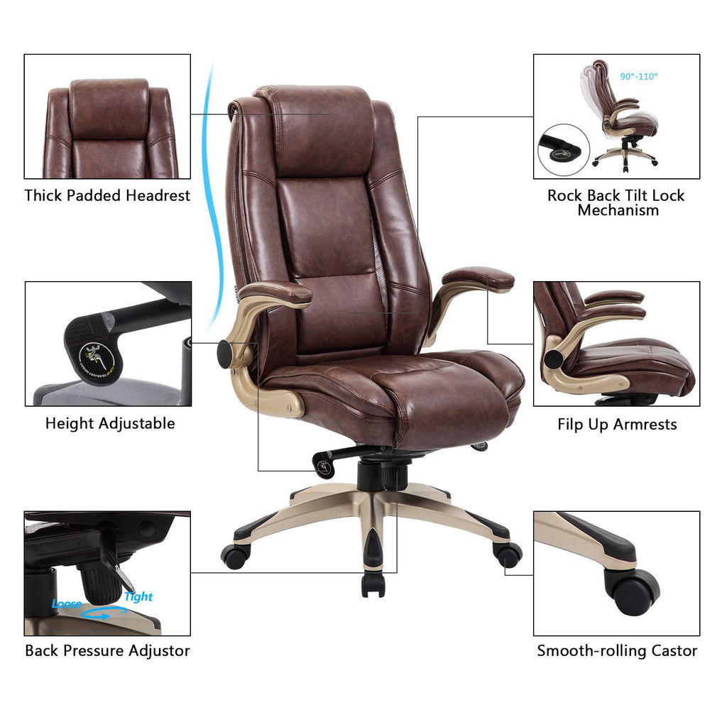 KADIRYA High Back Bonded Leather Executive Office Chair - Adjustable Recline Locking Mechanism,Flip-up Arms Computer Desk Chair,Thick Padding and Ergonomic Design for Lumbar Support (Brown)
