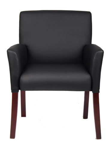 Image of Boss Office Products B619 Box Arm Guest Chair with Mahogany Finish in Black