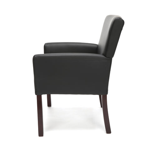 Image of Essentials Executive Guest Chair - Leather Reception Chair with Arms, Black (ESS-9025-BLK)