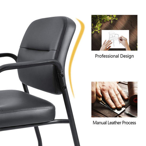 Image of Devoko Office Reception Chairs Executive Leather Guest Chairs with Armrest Ergonomic Upholstered Lumber Support Side Chairs Set of 2 (Black)
