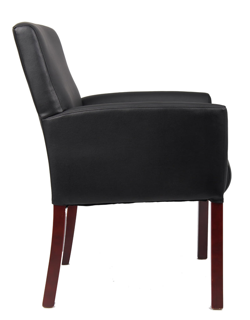 Boss Office Products B619 Box Arm Guest Chair with Mahogany Finish in Black