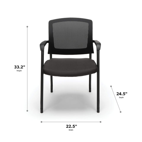 "OFM 424-805 Model 424 Mesh Chair Guest/Reception Chair with Arms, 33.25"" Height, 22.5"" Wide, 24"" Length, Trim, Black Leg"