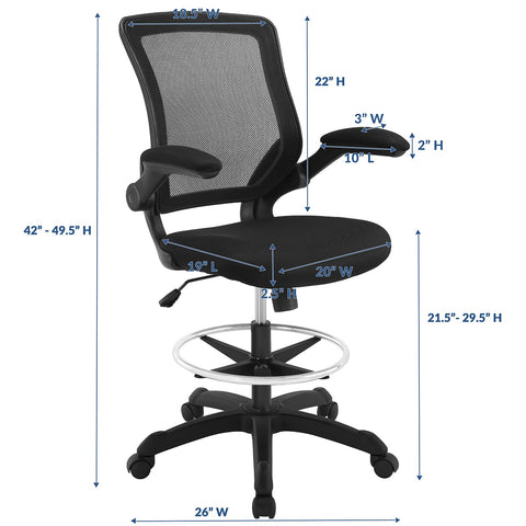 Modway Veer Drafting Chair In Black - Reception Desk Chair - Tall Office Chair For Adjustable Standing Desks - Flip-Up Arm Drafting Table Chair...