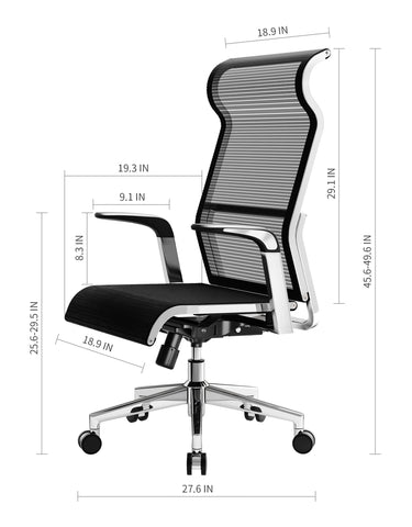 Image of SIHOO Ergonomic Office Chair Computer Desk Chair, Large Headrest High Back Mesh Chair Metal Design Frame Adjustable Swivel Task Chair(Black)