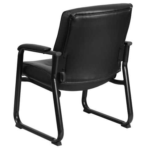 Image of Flash Furniture Hercules Series Big and Tall Leather Executive Side Chair with Sled Base and Padded Arms, 500-Pound, Black