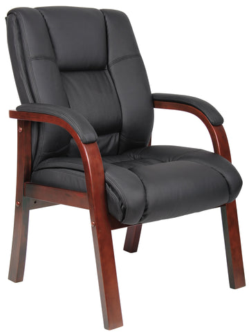 Boss Boss Office Products B8999-C Mid Back Wood Finished Guest Chairs