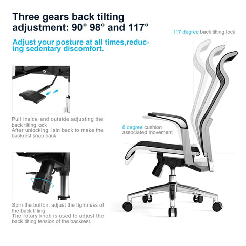 SIHOO Ergonomic Office Chair Computer Desk Chair, Large Headrest High Back Mesh Chair Metal Design Frame Adjustable Swivel Task Chair(Black)
