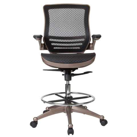 Image of Flash Furniture Mid-Back Transparent Black Mesh Drafting Chair with Melrose Gold Frame and Flip-Up Arms