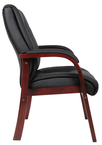 Image of Boss Boss Office Products B8999-C Mid Back Wood Finished Guest Chairs