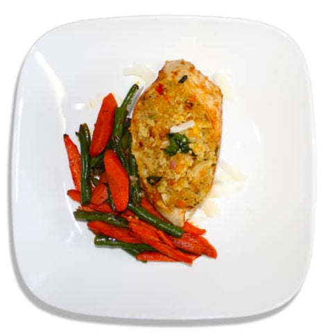 Quinoa Stuffed Chicken Breast with Roasted Green Beans and Carrots