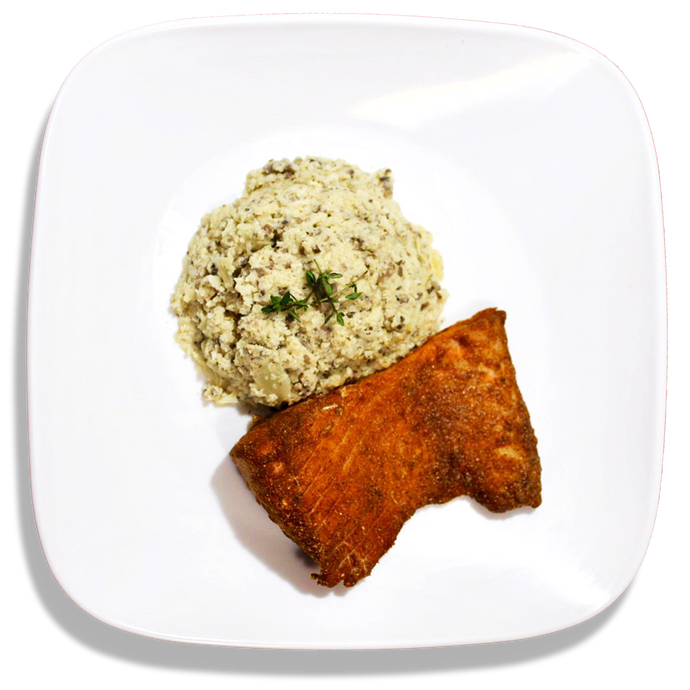 Cauliflower Risotto and Masala Salmon