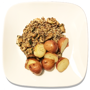 Mushroom Quinoa and Garlicky Baby Red Potatoes